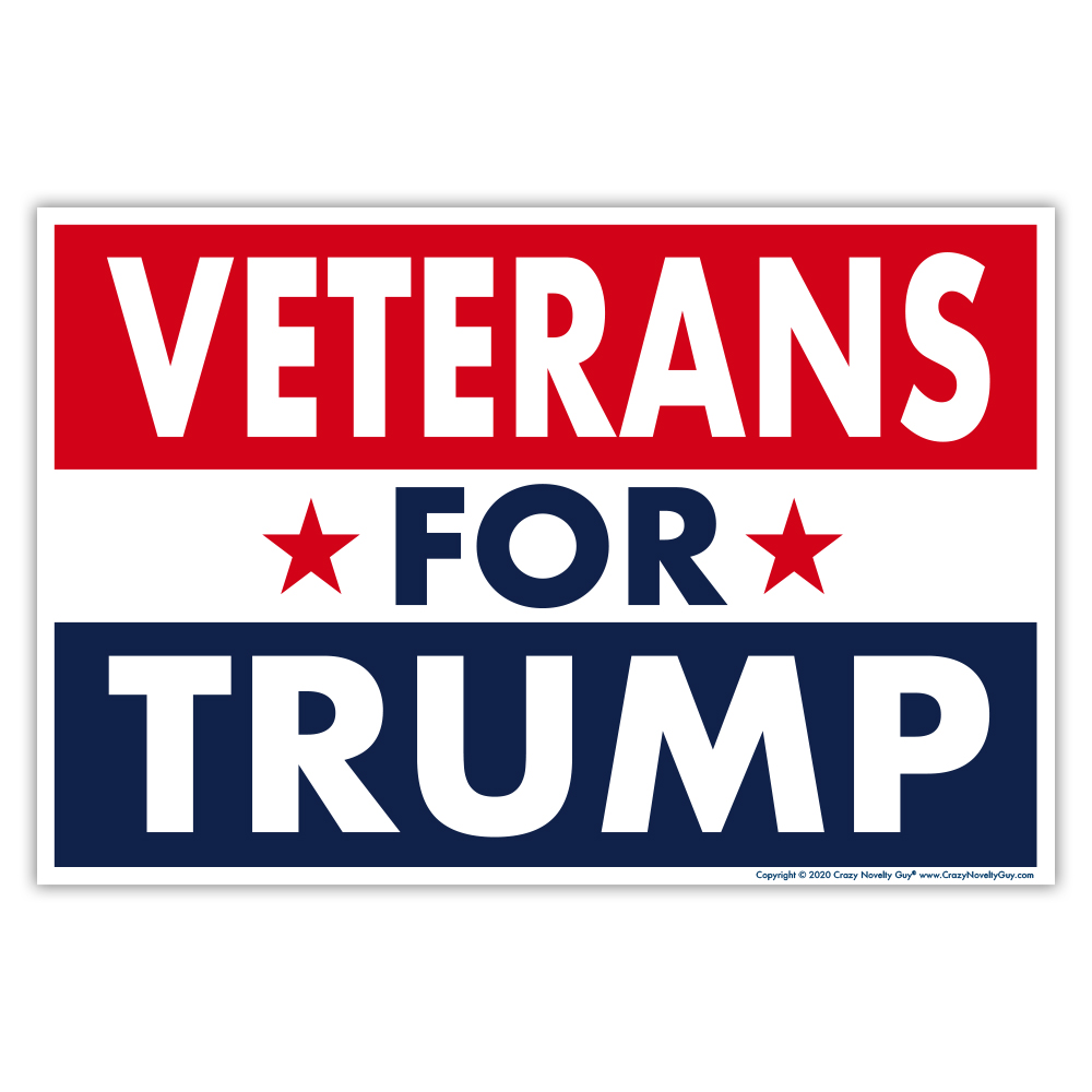 Political Yard Sign w/Stake, Veterans For Donald Trump 2020,